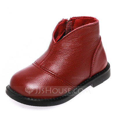 Girl's Round Toe Closed Toe Ankle Boots Real Leather Flat Heel Flats Boots Flower Girl Shoes With Zipper
