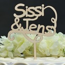 Personalized Classic/Mr. & Mrs. Wood Cake Topper (Sold in a single piece)