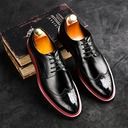 Men's Patent Leather Lace-up Brogue Casual Men's Oxfords
