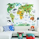 Cartoon background colorful animal map wall sticker (Sold in a single piece)