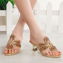 Women's Leatherette Chunky Heel Peep Toe Pumps Sandals Slingbacks With Rhinestone