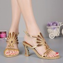 Women's Leatherette Chunky Heel Peep Toe Pumps Sandals Slingbacks With Buckle Rhinestone