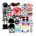 Photo Booth Props Card Paper (58 Pieces) Funny Mask Photo Booth Props Wedding Decorations