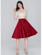 A-Line/Princess Off-the-Shoulder Knee-Length Satin Homecoming Dress