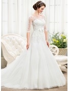 Ball-Gown Scoop Neck Chapel Train Tulle Lace Wedding Dress With Beading Sequins Bow(s)