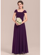 A-Line/Princess Square Neckline Floor-Length Chiffon Junior Bridesmaid Dress With Ruffle