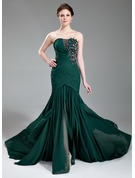 Trumpet/Mermaid Sweetheart Court Train Chiffon Evening Dress With Ruffle Beading Appliques Lace Sequins Split Front