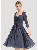 A-Line/Princess Sweetheart Knee-Length Chiffon Cocktail Dress With Ruffle