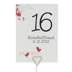 "Personalized ""Cherry Blossom and Love Birds"" Pearl Paper Table Number Cards"