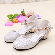 Girl's Closed Toe Leatherette Low Heel Pumps With Sparkling Glitter