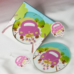Round Glass Coaster With Tag