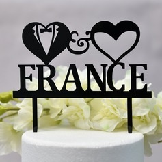 Personalized Heart/Mr. & Mrs. Acrylic Cake Topper (Sold in a single piece)