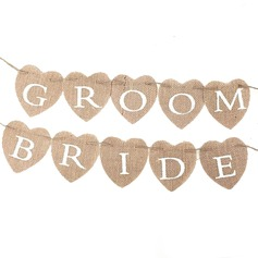 Bride and Groom Linen Photo Booth Props/Banner
