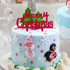 """Merry Christmas"" Cake Topper (Set of 2)"