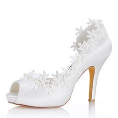Женщины шелка как атласное Высокий тонкий каблук Открытый мыс На каблуках Сандалии с Вышитые кружева