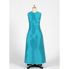 Sheath/Column Scoop Neck Ankle-Length Taffeta Junior Bridesmaid Dress