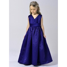 A-Line/Princess Floor-length Flower Girl Dress - Tulle/Polyester Sleeveless V-neck
