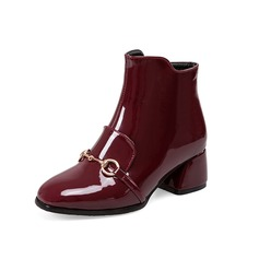 Women's Patent Leather Low Heel Ankle Boots With Buckle Split Joint shoes