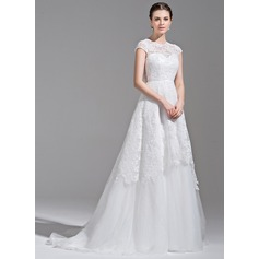 A-Line/Princess Scoop Neck Sweep Train Tulle Lace Wedding Dress