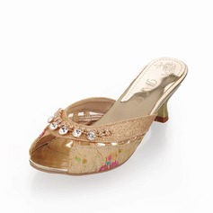 Women's Sparkling Glitter Low Heel Sandals Slippers With Rhinestone shoes