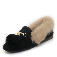 Femmes Suède Talon plat Chaussures plates Mary Jane avec Boucle Fourrure chaussures