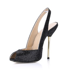 Sparkling Glitter Stiletto Heel Sandals Peep Toe Slingbacks shoes