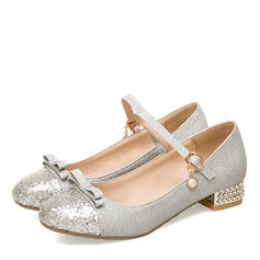 Women's Leatherette Chunky Heel MaryJane With Bowknot Sequin Crystal Heel
