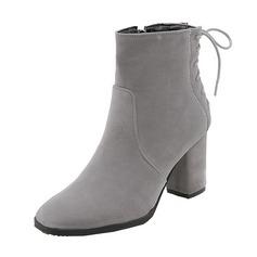 Vrouwen Suede Chunky Heel Pumps Laarzen Half-Kuit Laarzen met Vastrijgen schoenen