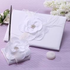 Flowers Design Rhinestones/Feather/Flower Guestbook & Pen Set