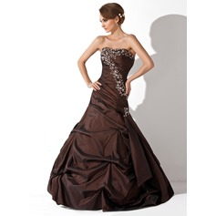 Trumpet/Mermaid Sweetheart Floor-Length Taffeta Quinceanera Dress With Ruffle Beading Sequins
