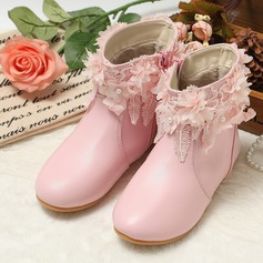Girl's Closed Toe Mid-Calf Boots Leatherette Flat Heel Flats Boots With Flower