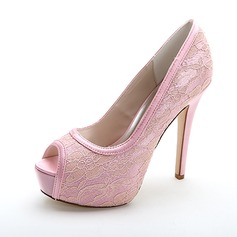Women's Lace Stiletto Heel Peep Toe Platform Pumps