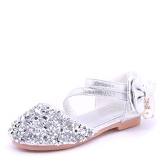 Girl's Round Toe Closed Toe Microfiber Leather Flat Heel Sandals Flower Girl Shoes With Bowknot