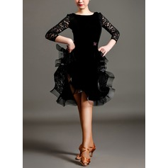 Women's Dancewear Lace Velvet Latin Dance Dresses
