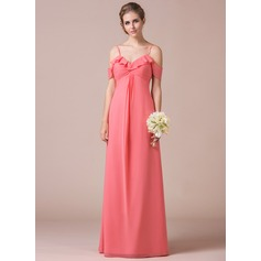 A-Line/Princess Off-the-Shoulder Floor-Length Chiffon Bridesmaid Dress With Cascading Ruffles