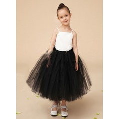 A-Line/Princess Floor-length Flower Girl Dress - Tulle/Charmeuse Sleeveless Square Neckline With Lace