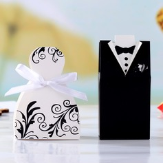 Tuxedo & Gown Cuboid Favor Boxes With Ribbons