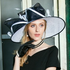 Ladies' Glamourous Cambric With Feather Floppy Hat