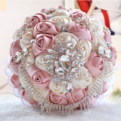 Round Satin/Silk Bridal Bouquets (Sold in a single piece) -