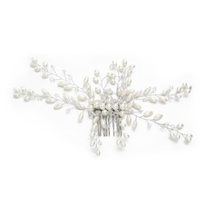 Ladies Unique Crystal/Imitation Pearls Combs & Barrettes With Venetian Pearl/Crystal (Sold in single piece)