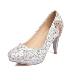 Women's Lace Cone Heel Closed Toe Pumps With Rhinestone