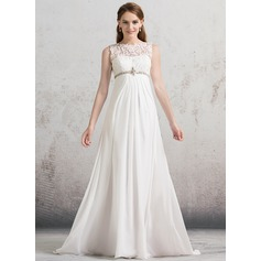 Empire Scoop Neck Sweep Train Chiffon Wedding Dress With Ruffle Beading Sequins