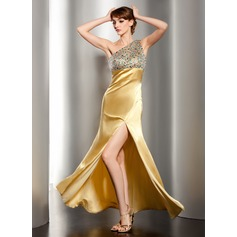 Trumpet/Mermaid One-Shoulder Floor-Length Charmeuse Prom Dress With Ruffle Beading Split Front