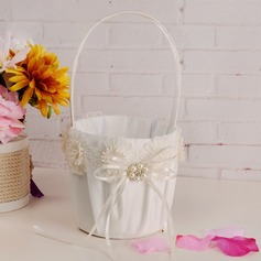 Beautiful Flower Basket in Cloth With Ribbons/Flower