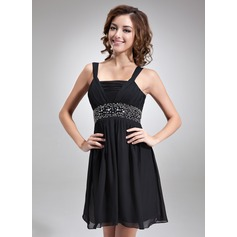 Empire Square Neckline Short/Mini Chiffon Homecoming Dress With Ruffle Beading