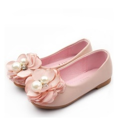 Encaje Punta Cerrada Kunstleder Talón plano Planos Zapatos de niña de las flores con Flor Perla