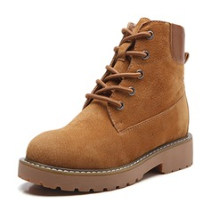 Women's Suede Flat Heel Boots Ankle Boots Martin Boots With Lace-up shoes