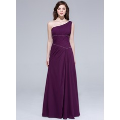 A-Line/Princess One-Shoulder Floor-Length Chiffon Bridesmaid Dress With Ruffle Beading