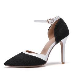 Mulheres Couro Jean Salto agulha Sandálias Bombas Fechados sapatos
