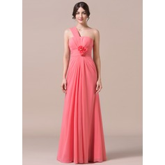 Trumpet/Mermaid One-Shoulder Floor-Length Chiffon Bridesmaid Dress With Ruffle Flower(s)